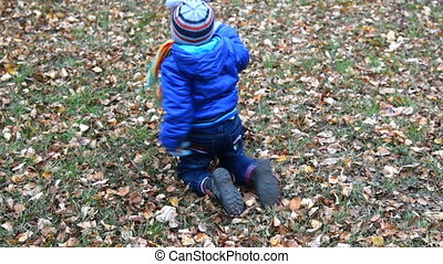 Child sitting on the ground with autumn leaves