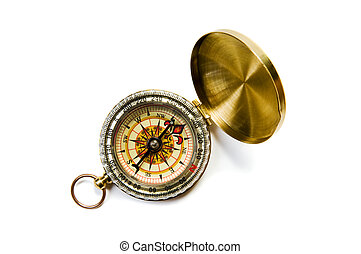 brass compass - Antique brass compass on white background...