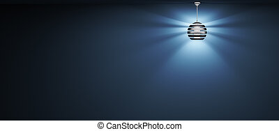 Background with lamp 3d rendering - Blue background with...