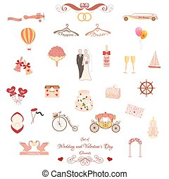 Set of Wedding and Valentines Day elements - Set of Wedding...