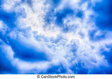 Beautiful blue sky clouds, close up image