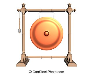 Metal Gong and Wooden frame - gong
