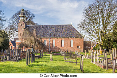 Reformed church and graveyard in Oude Pekela, Holland
