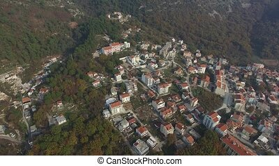 The new town of Budva in Montenegro Aerial view with...