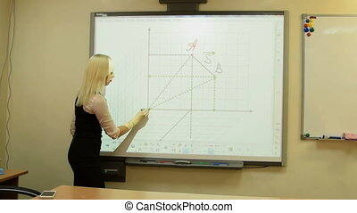Girl working with interactive whiteboard - Young teacher or...