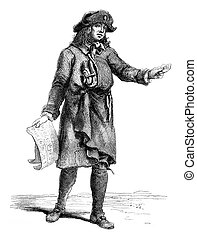 The Merchant of lottery tickets, 1774, vintage engraving. -...