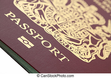 passport - macro of a biometric British passport