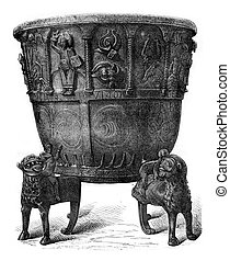 Baptismal font of copper, cast iron (1149), vintage...