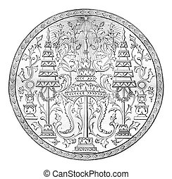 Seal of the second king of Siam, vintage engraving - Seal of...