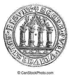 Small seal of the town of Besancon, vintage engraving. -...