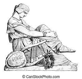 Sappho, last statue of Pradier, vintage engraving. - Sappho,...