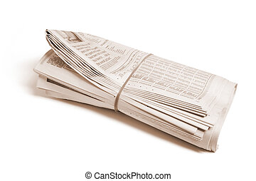 Newspapers on Isolated White Background