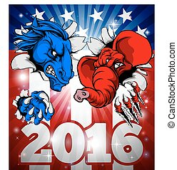 American Politics Fight 2016 Concept - A blue donkey and red...