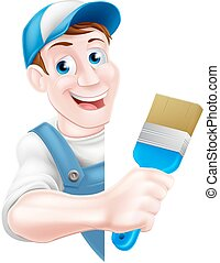Cartoon Painter Decorator - A cartoon painter decorator in a...