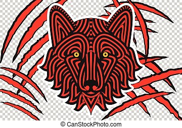 Animal claw scratches with wolf face, isolated on checkered...