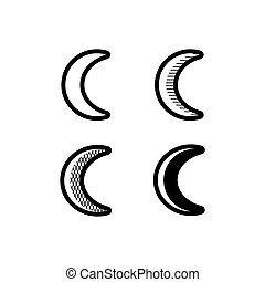 Moon crescent icons set Simple black and white