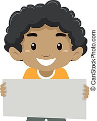 Boy Holding a Signage - Vector Illustration of a Boy Holding...