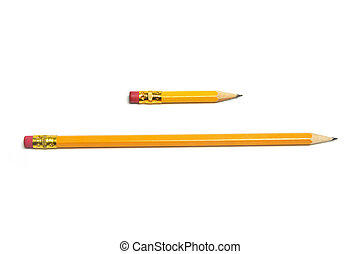 Long and Short Pencils on White Background