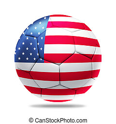 3D ball with usa team flag - 3D soccer ball with usa team...