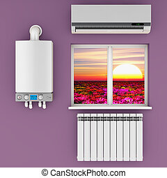 the climatic equipment - climatic equipment on the wall near...