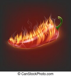 Burning chilli pepper - Background with burning chilli...