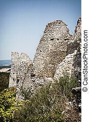 Cachtice castle ruins in summer, Slovak republic Travel...