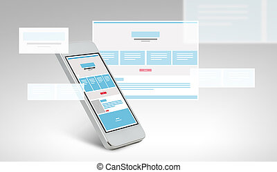 smarthphone with web page design on screen - technology and...