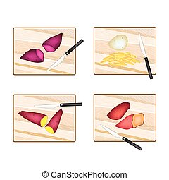 Potatoes and Sweet Potatoes on Cutting Board - Different...