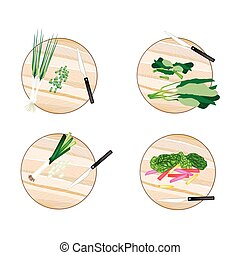 Chinese Broccoli, Rainbow Swiss Chards, Leek and Scallion -...