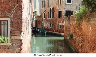 Small Canal with Houses Venice - Small canal with green...
