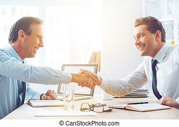 Sealing a deal. Side view of two business people shaking...