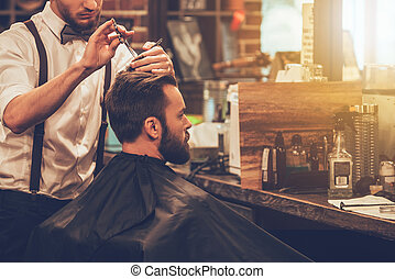 barbudo, Crear, obteniendo, mirada, corte de pelo, joven,...