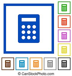 Calculator framed flat icons - Set of color square framed...
