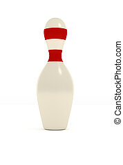 One bowling pin on a white background, 3d sports concept