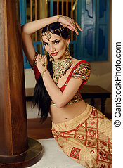 Girl in Indian national costume - Young beautiful girl in...
