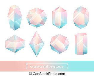 Set of geometric crystals gem and minerals