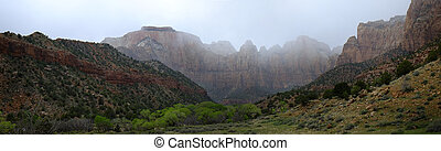 Zions Canyon with Rain Clouds Storms - Landscape of Zions...