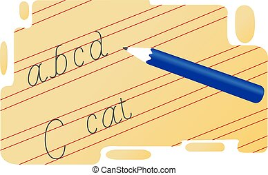 handwriting - 	Illustration of handwriting with pencil