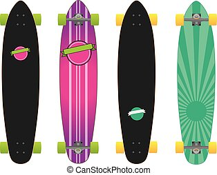 colorful longboard skateboard - set of two colorful...