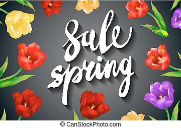 Beautiful spring sale design on a black background. Luminous bright green and red colors.