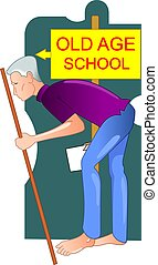 Old man	 - Illustration of old man walking in the school