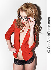 attractive red hair woman with glasses