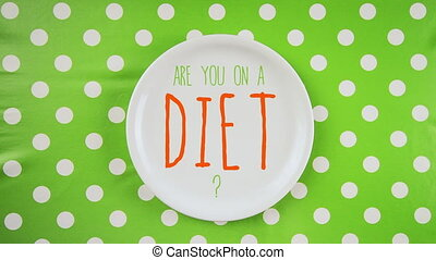 Are you on a diet message on plate - Are you on a diet...