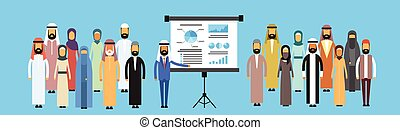 Muslim Business People Group Presentation Flip Chart...