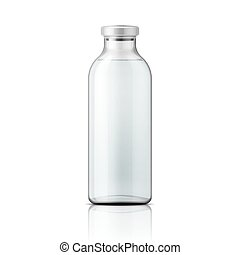 Glass medical bottle with aluminium cap. - Template of empty...
