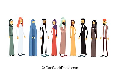 Arab Different People Group Traditional Clothes Full Length...