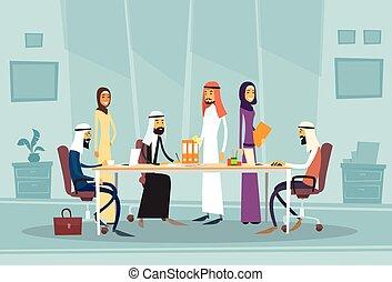 Arab Business People Meeting Discussing Office Desk Muslim...