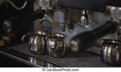 Vintage Coffee Machine  Making Double Espresso