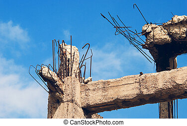 Destroyed building, debris - The destroyed ferroconcrete...