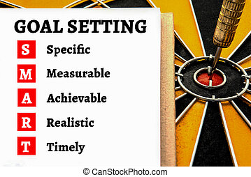 Words goal setting and smart with dart target arrow on the...